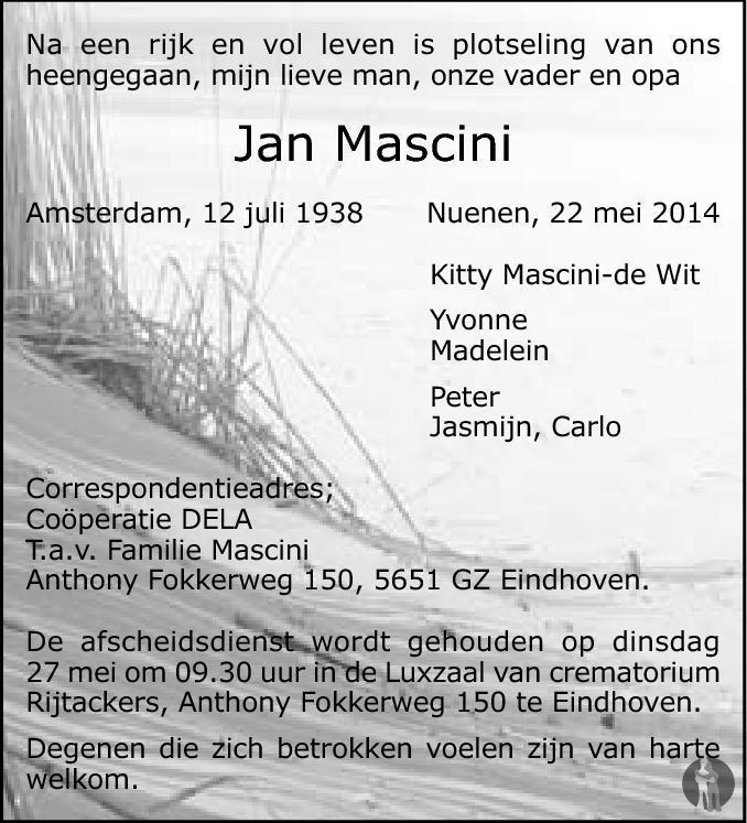 Overlijdensbericht van Jan Mascini in Eindhovens Dagblad