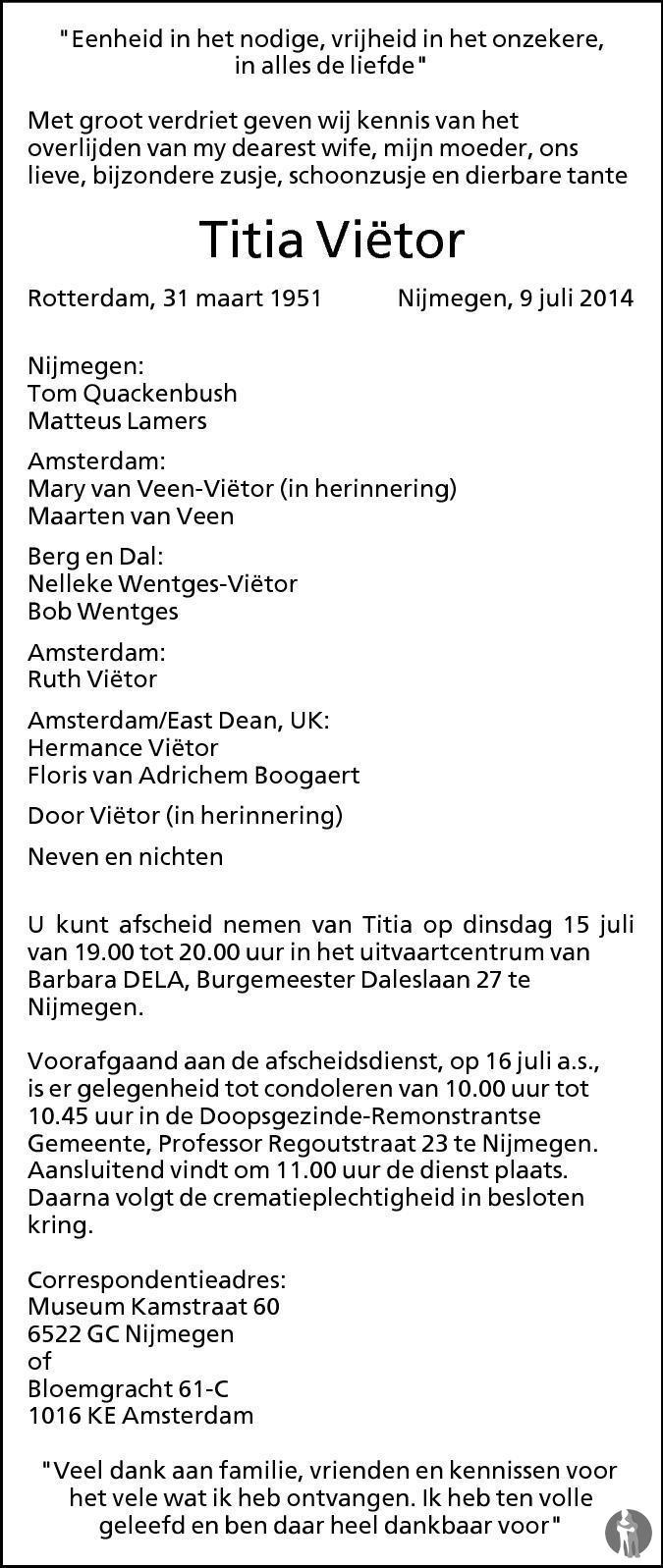 Overlijdensbericht van Titia Viëtor in de Gelderlander