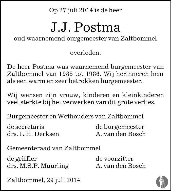 Overlijdensbericht van Jacob Johan Postma in Brabants Dagblad