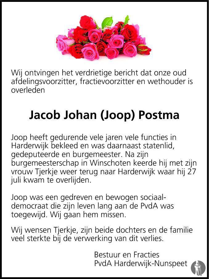 Overlijdensbericht van Jacob Johan Postma in de Stentor