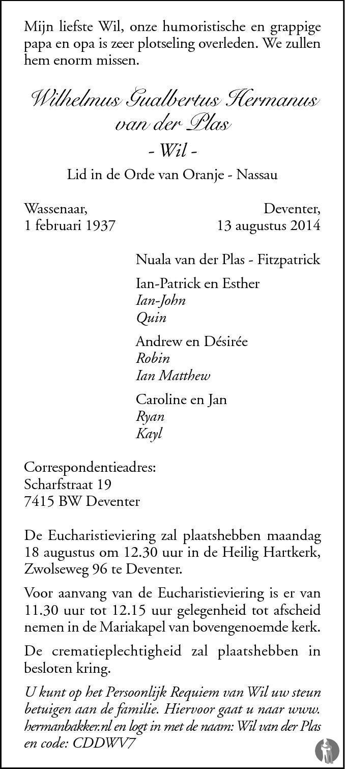 Overlijdensbericht van Wilhelmus Gualbertus Hermanus (Wil) van der Plas in de Stentor