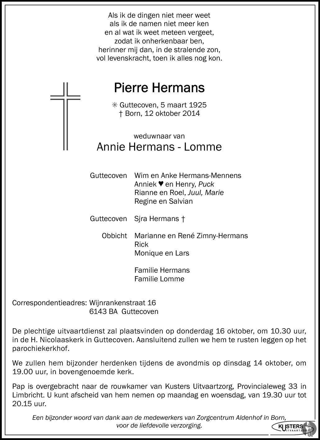 Pierre Hermans 12-10-2014 overlijdensbericht en ...