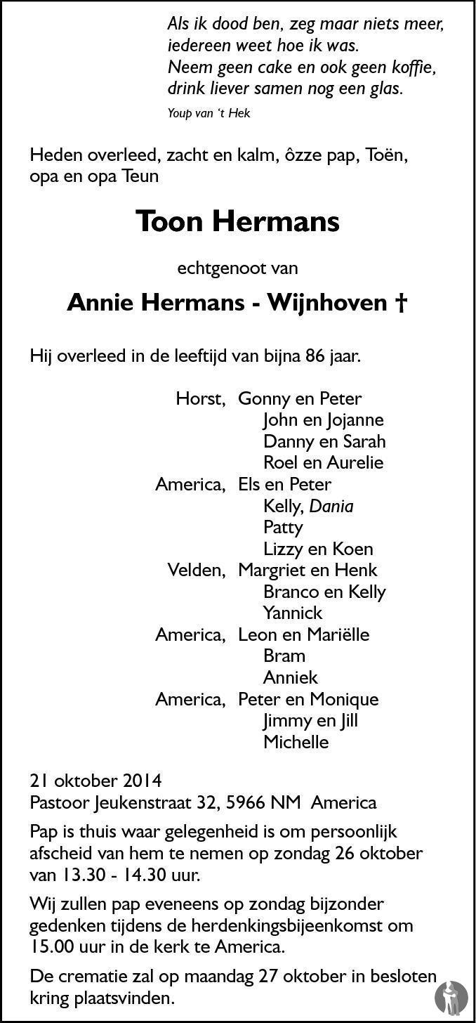 Genoeg Toon Hermans ✝ 21-10-2014 overlijdensbericht en condoleances  FE62