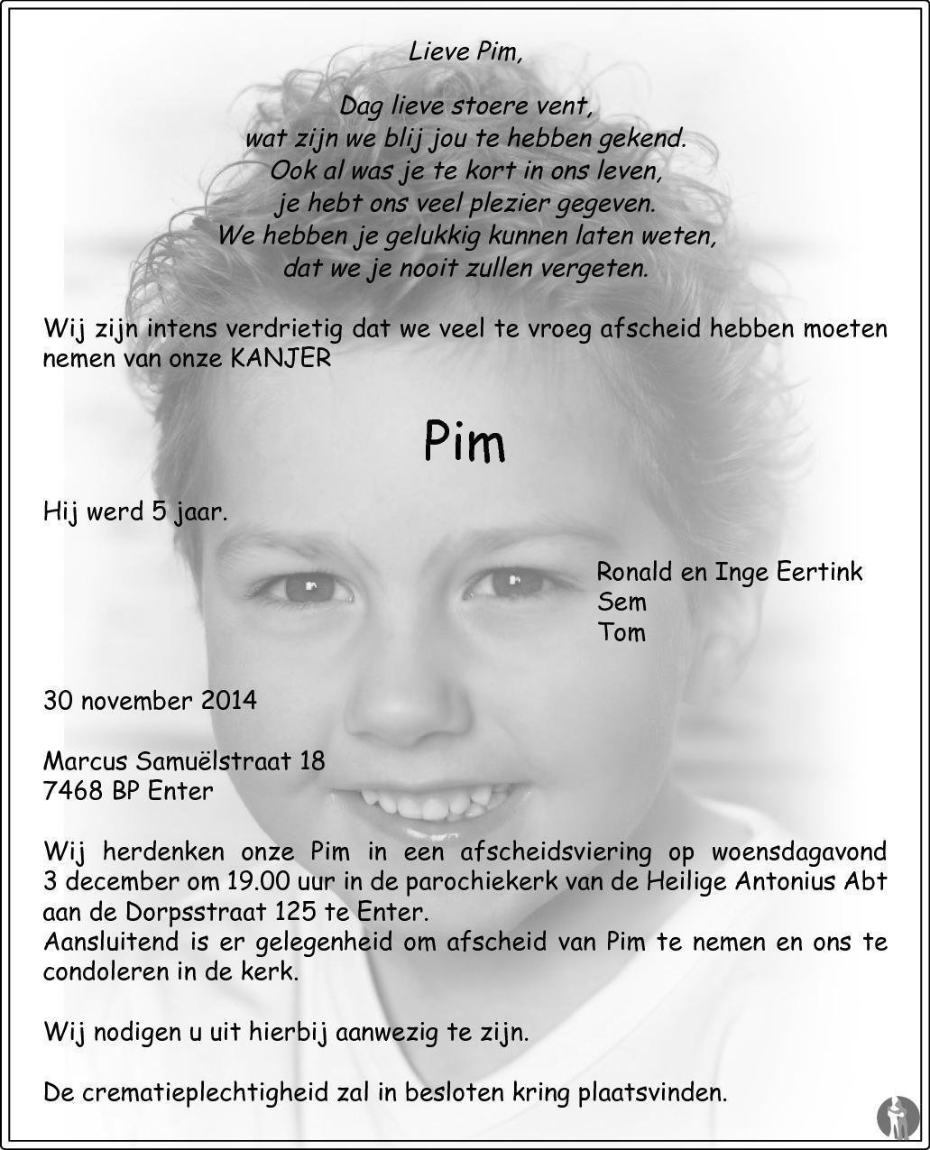 Vaak Pim Eertink ✝ 30-11-2014 overlijdensbericht en condoleances  @TS-78
