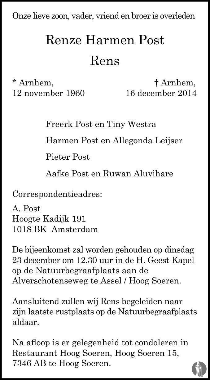 Overlijdensbericht van Renze Harmen (Rens) Post in de Gelderlander