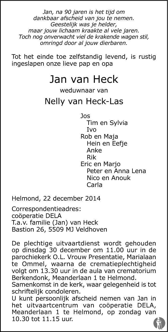 Overlijdensbericht van Jan van Heck in Eindhovens Dagblad