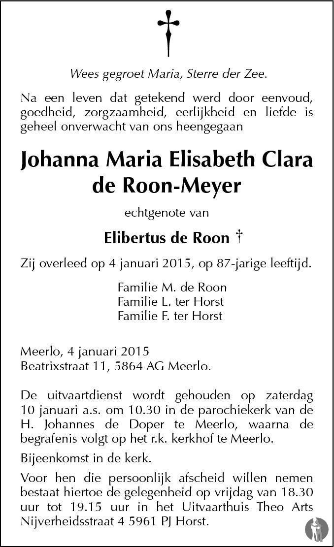 Overlijdensbericht van Johanna Maria Elisabeth Clara de Roon - Meyer in De Limburger