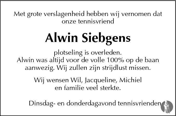 Overlijdensbericht van Alwin Siebgens in De Limburger