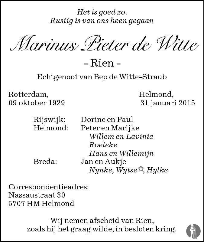 Overlijdensbericht van Marinus Pieter (Rien) de Witte in Eindhovens Dagblad