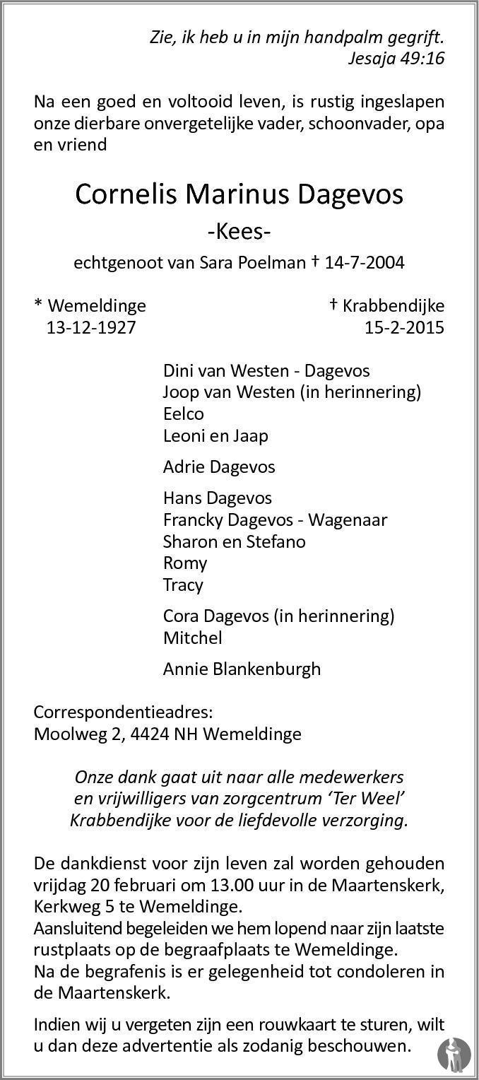 Overlijdensbericht van Cornelis Marinus (Kees) Dagevos in PZC Provinciale Zeeuwse Courant