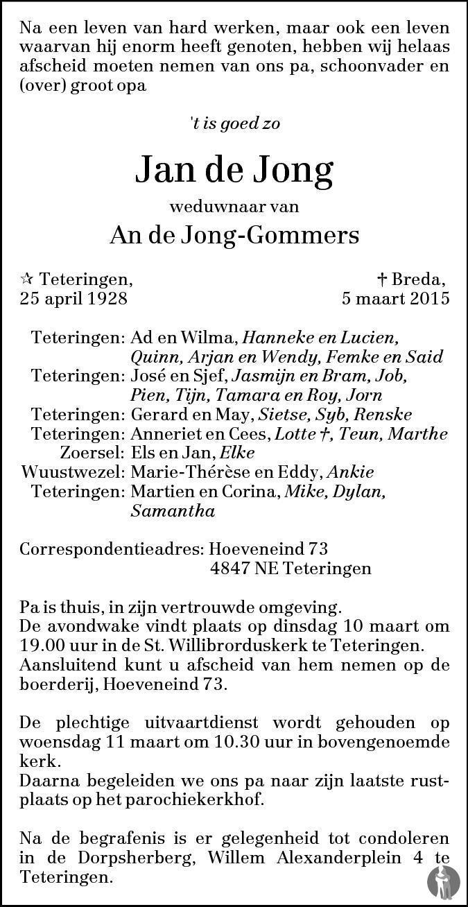Jan de jong 05 03 2015 overlijdensbericht en condoleances for Jan de jong interieur leeuwarden