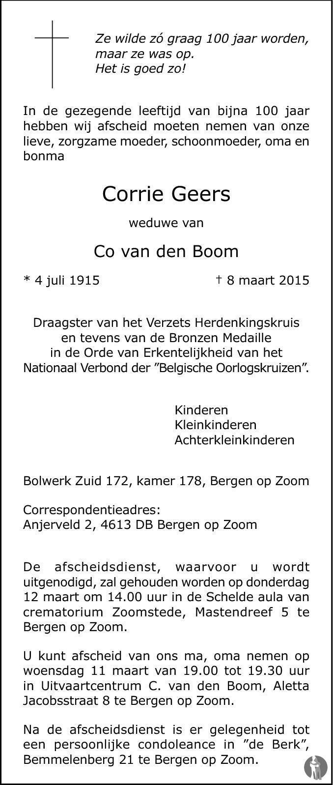 Overlijdensbericht van Corrie van den Boom - Geers in BN DeStem