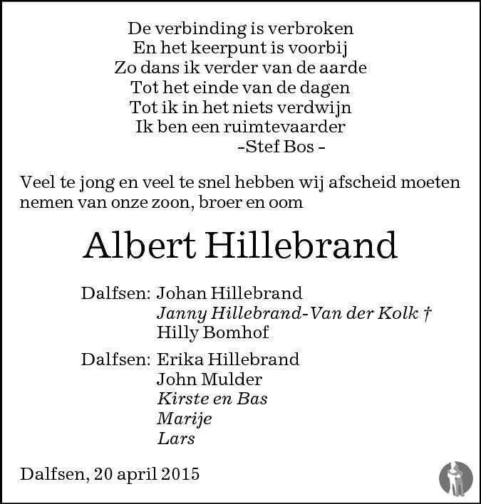 Overlijdensbericht van Albert Hillebrand in de Stentor