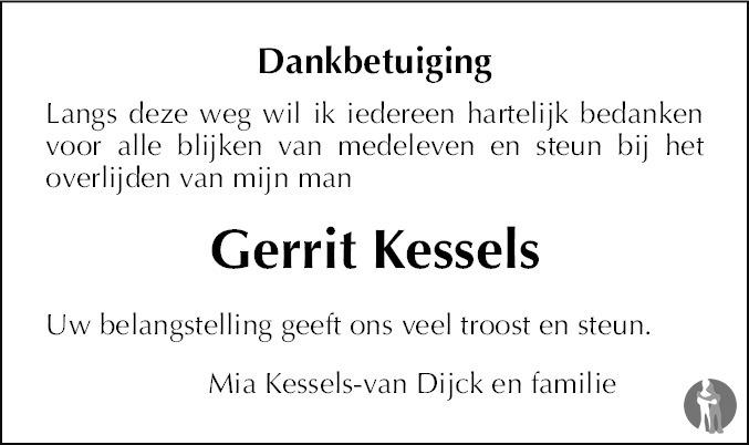 Overlijdensbericht van Gerrit Kessels in De Limburger