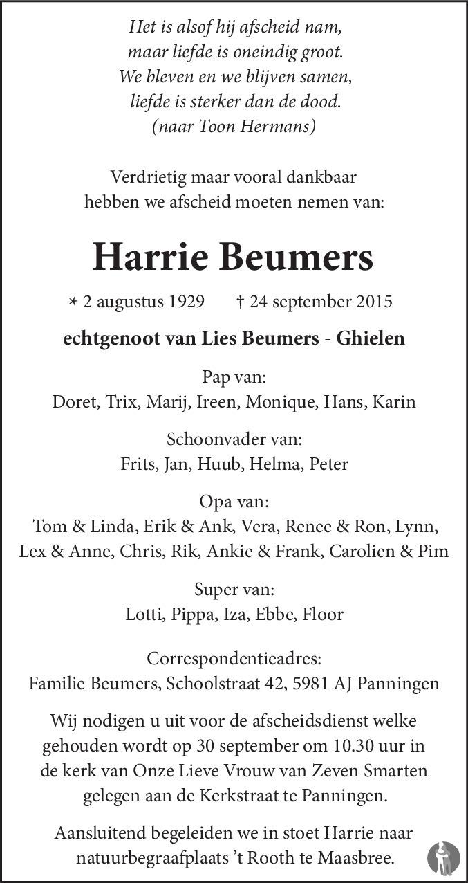 Harrie Beumers ✝ 24-09-2015 overlijdensbericht en condoleances ...