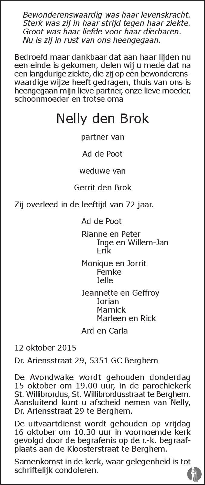 Overlijdensbericht van Nelly den Brok in Brabants Dagblad