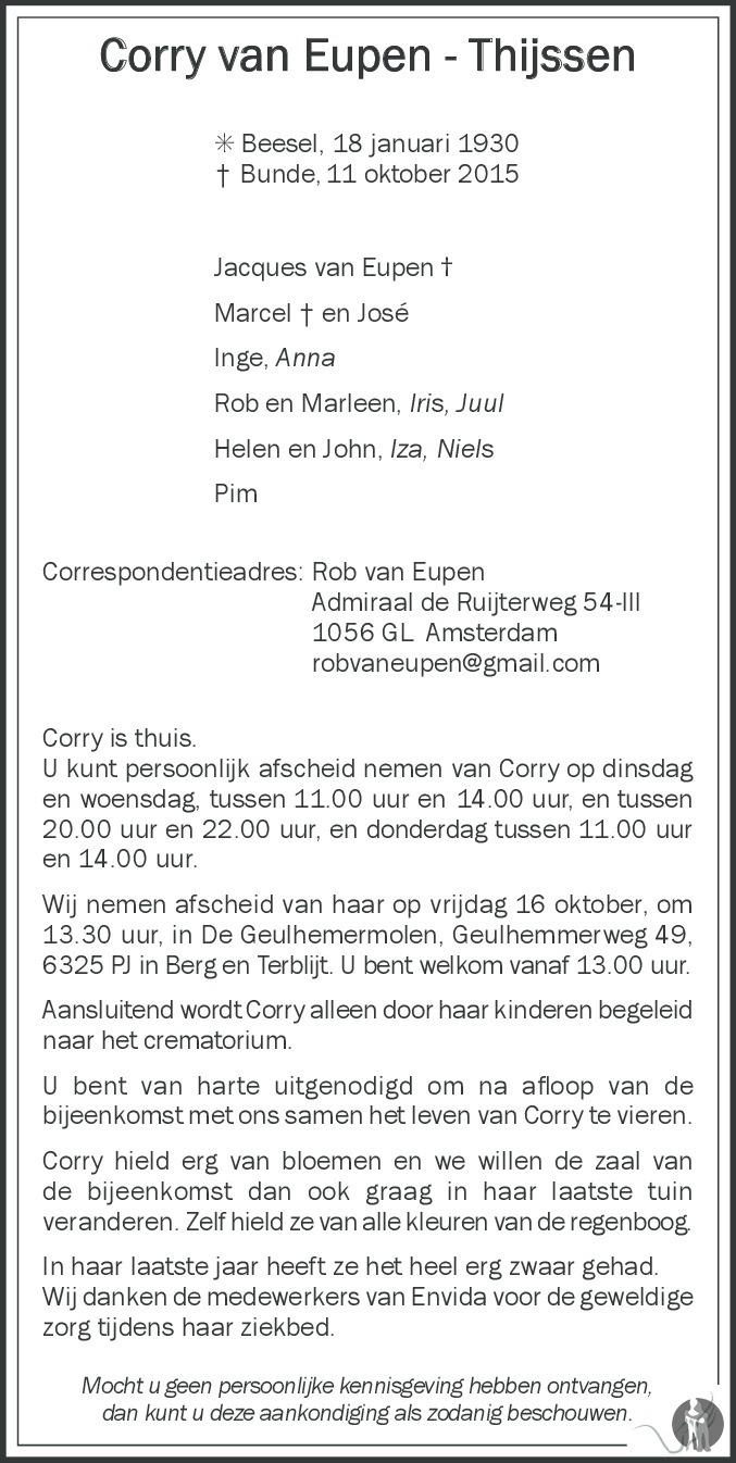 corry van eupen thijssen 11 10 2015 overlijdensbericht en condoleances. Black Bedroom Furniture Sets. Home Design Ideas