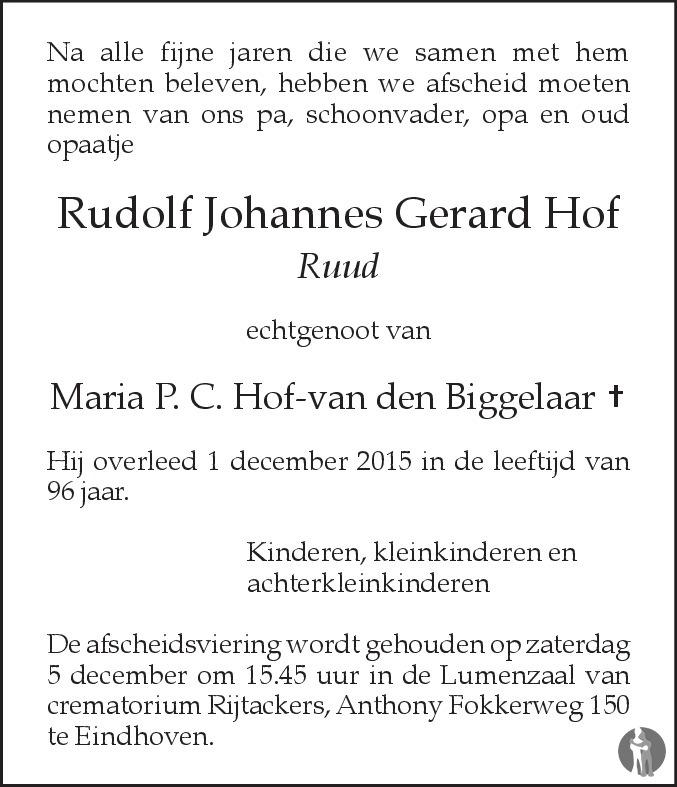 Rudolf johannes gerard ruud hof overlijdensbericht en for Johannes hof