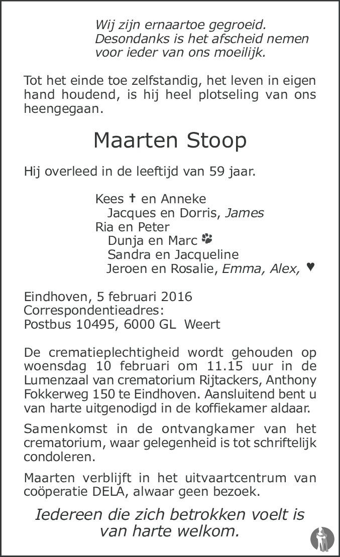 Maarten stoop 05 02 2016 overlijdensbericht en for Stoop eindhoven