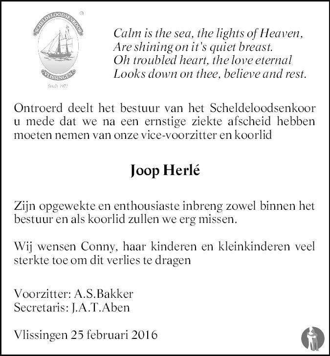 Overlijdensbericht van Johannes (Joop) Herlé in PZC Provinciale Zeeuwse Courant