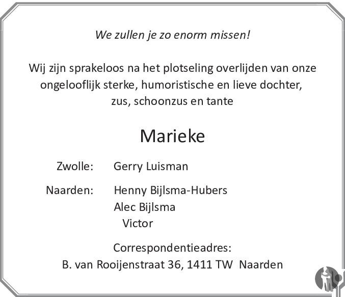 Overlijdensbericht van Marieke Raharing - Hubers in de Stentor