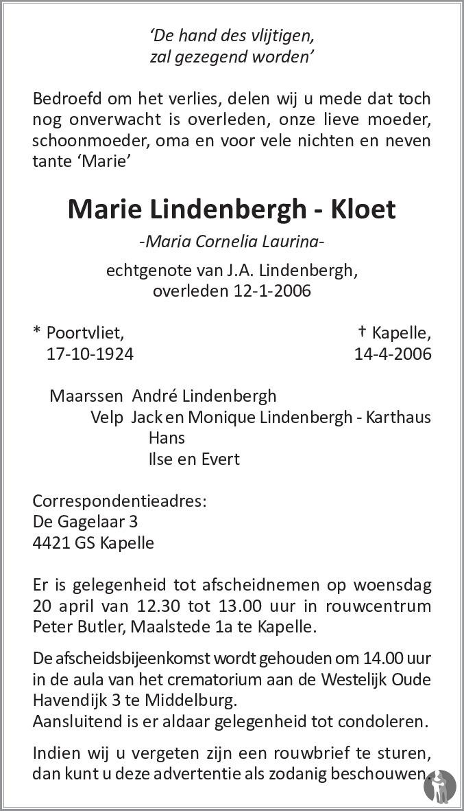 Overlijdensbericht van Maria Cornelia Laurina (Marie) Lindenbergh - Kloet in PZC Provinciale Zeeuwse Courant