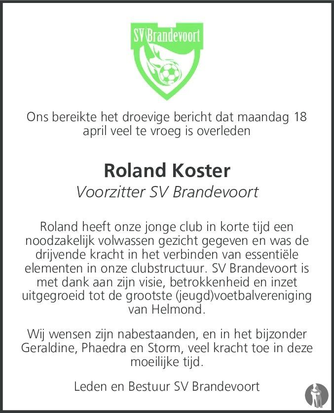 Overlijdensbericht van Roland Koster in Eindhovens Dagblad