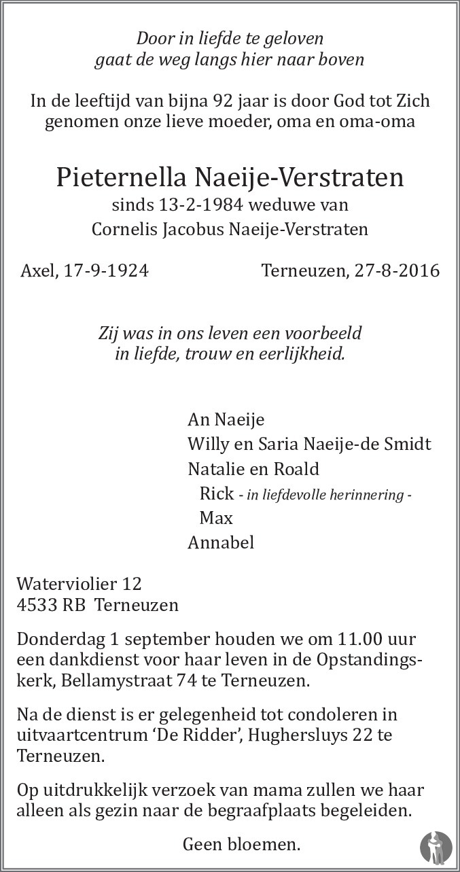 Naeye Verstraten Terneuzen.Pieternella Naeije Verstraten 27 08 2016