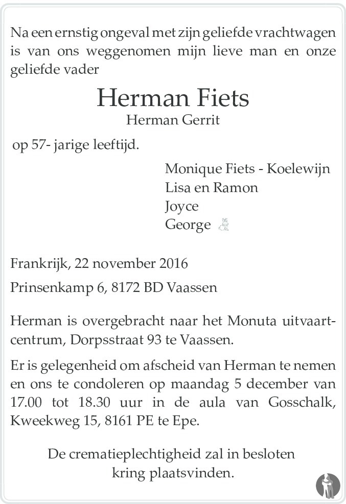 Herman Gerrit (Herman) Fiets ✝ 22-11-2016