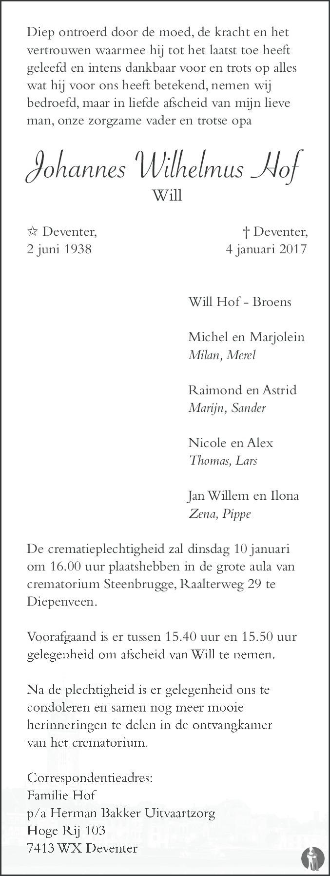 Johannes wilhelmus will hof 04 01 2017 for Johannes hof