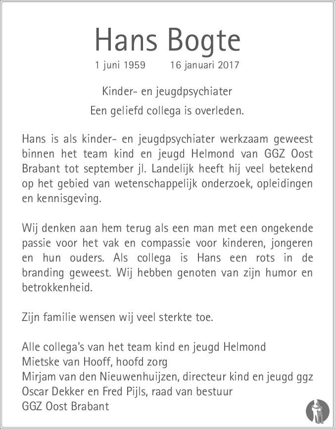 Overlijdensbericht van Hans Bogte in Eindhovens Dagblad