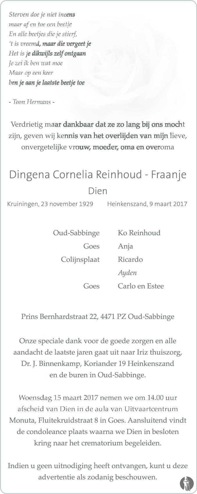 Overlijdensbericht van Dingena Cornelia (Dien) Reinhoud - Fraanje in PZC Provinciale Zeeuwse Courant