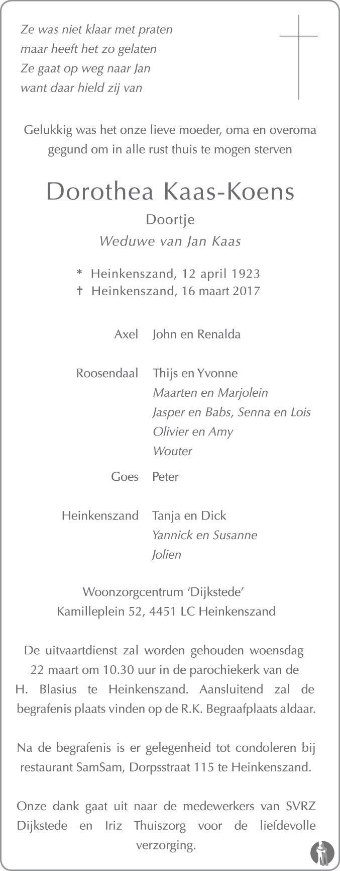 Overlijdensbericht van Dorothea (Doortje) Kaas - Koens in PZC Provinciale Zeeuwse Courant