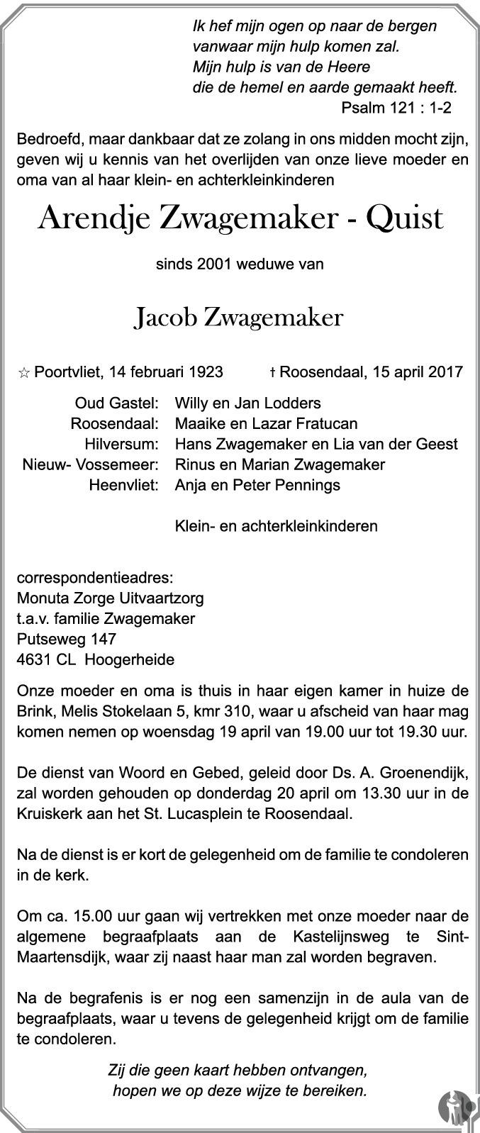 Overlijdensbericht van Arendje Zwagemaker - Quist in BN DeStem