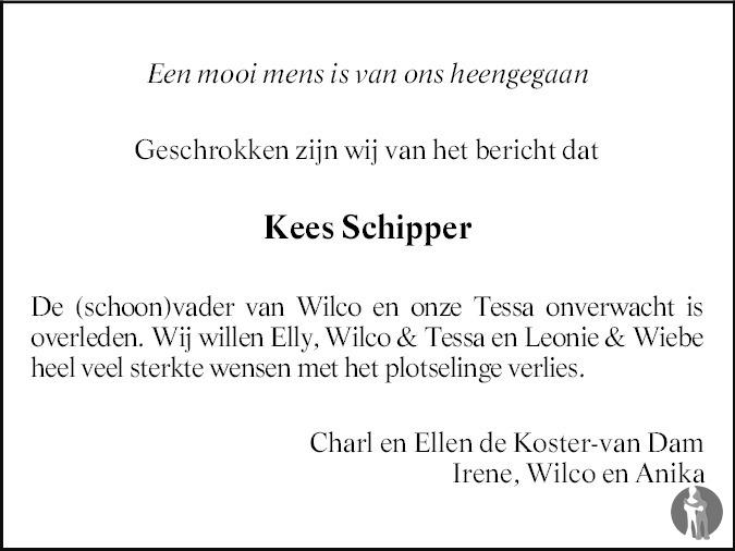 Overlijdensbericht van Cornelis Jacobus (Kees) Schipper in PZC Provinciale Zeeuwse Courant