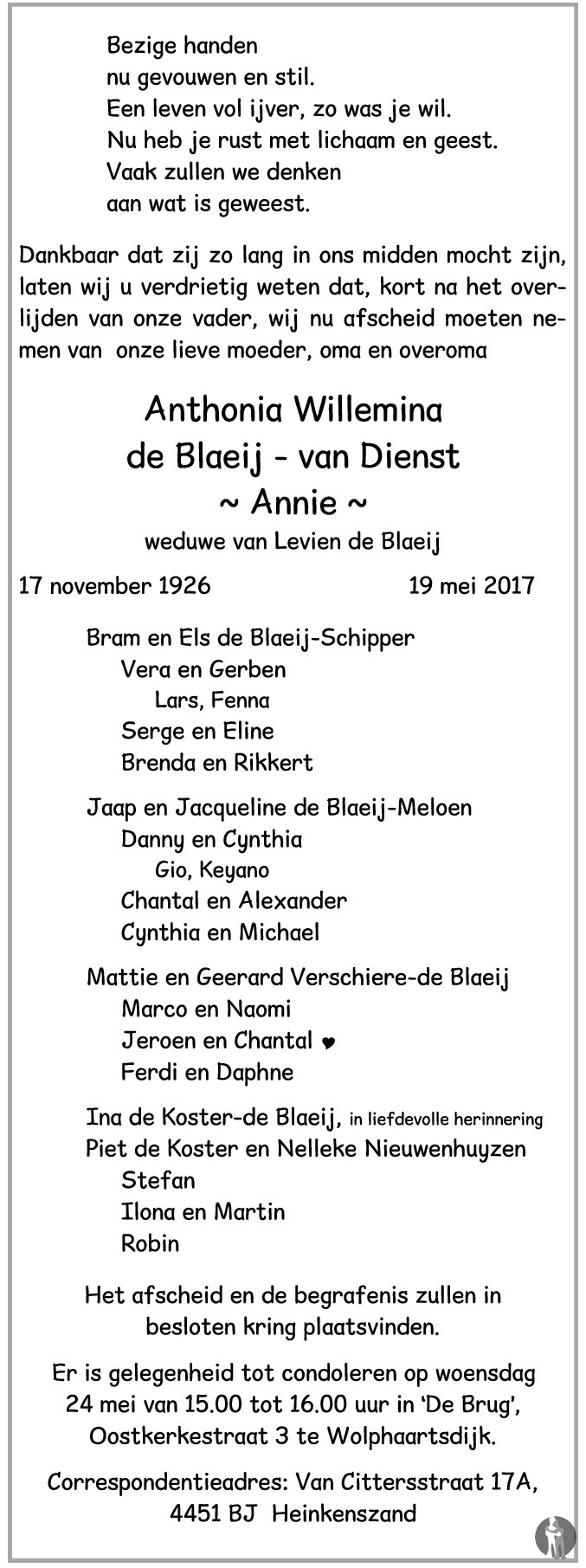 Overlijdensbericht van Anthonia Willemina (Annie) de Blaeij - van Dienst in PZC Provinciale Zeeuwse Courant