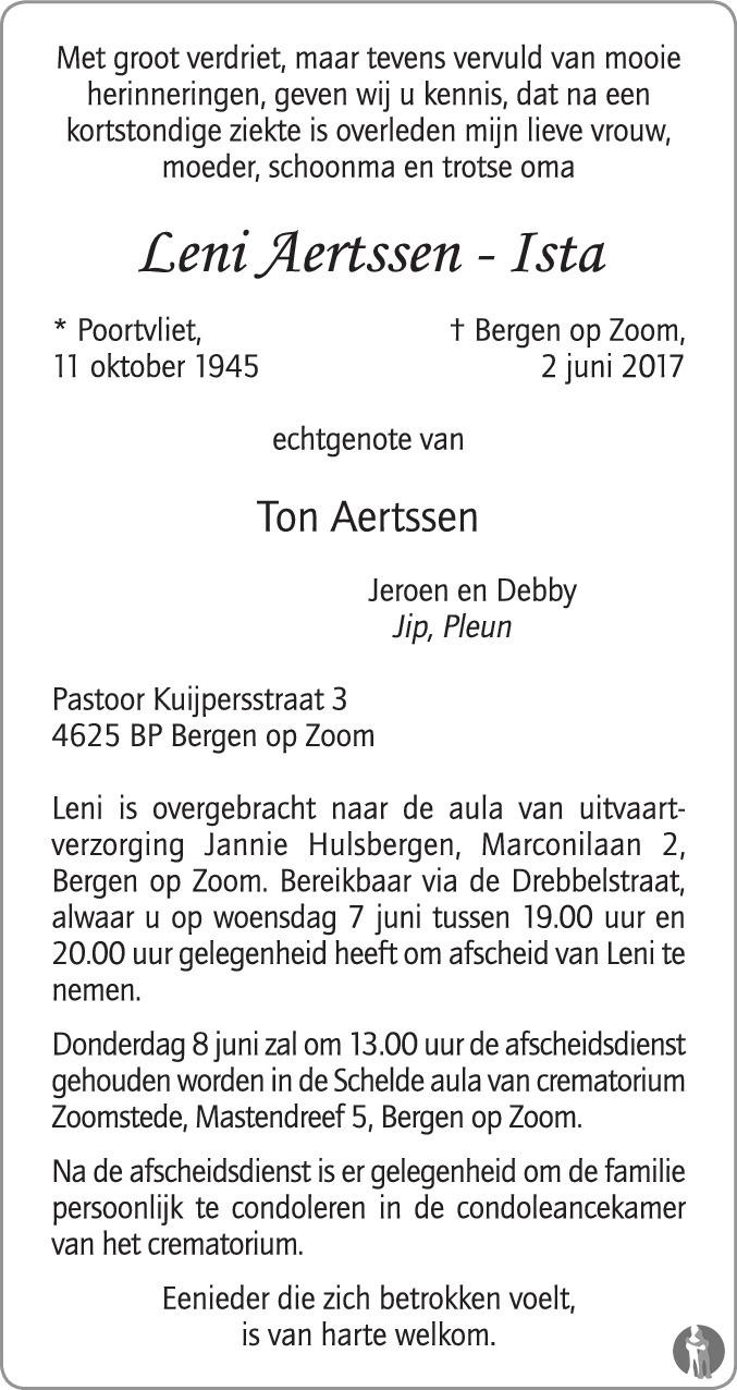 Overlijdensbericht van Leni Aertssen - Ista in BN DeStem