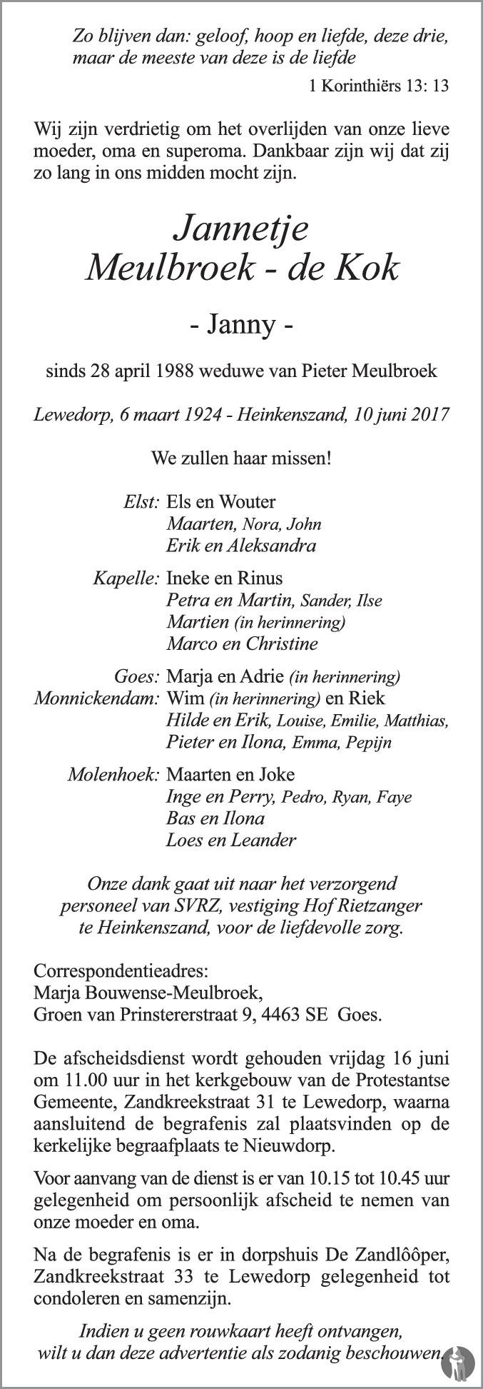 Overlijdensbericht van Jannetje (Janny) Meulbroek - de Kok in PZC Provinciale Zeeuwse Courant