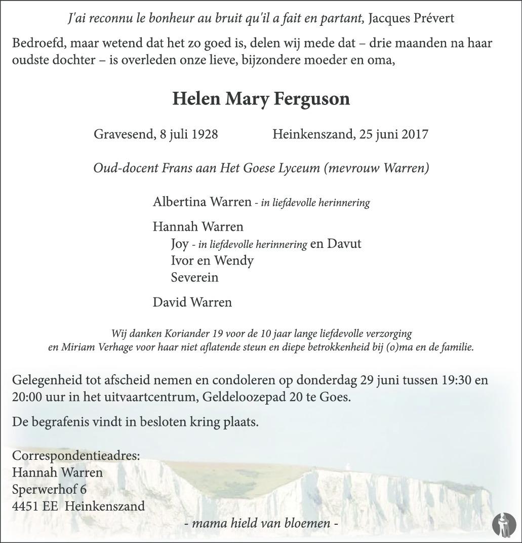 Overlijdensbericht van Helen Mary Ferguson in PZC Provinciale Zeeuwse Courant
