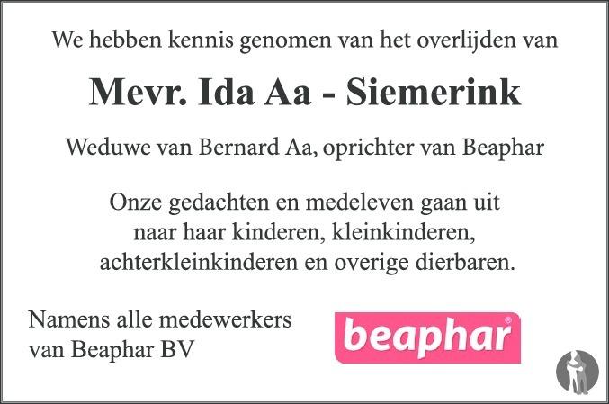 Overlijdensbericht van Ida Aa - Siemerink in de Stentor