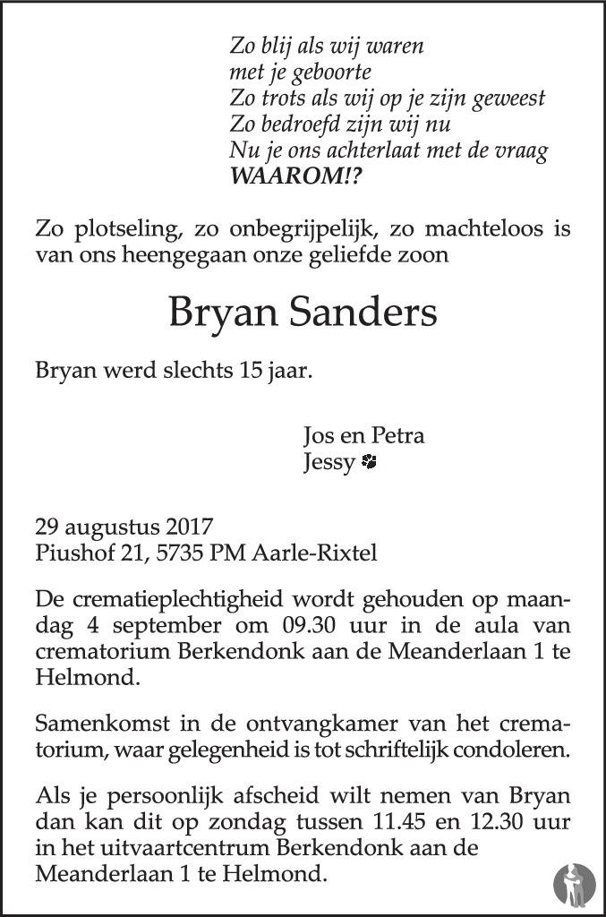 Overlijdensbericht van Bryan Sanders in Eindhovens Dagblad