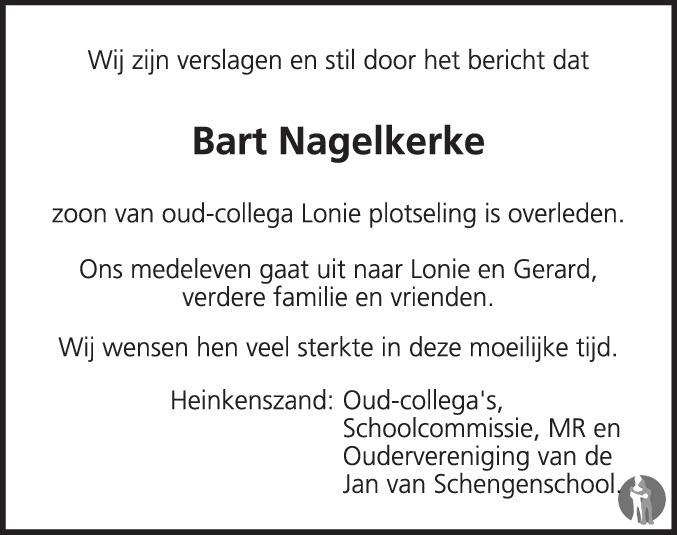 Overlijdensbericht van Bartholomeus Gerardus (Bart) Nagelkerke in PZC Provinciale Zeeuwse Courant