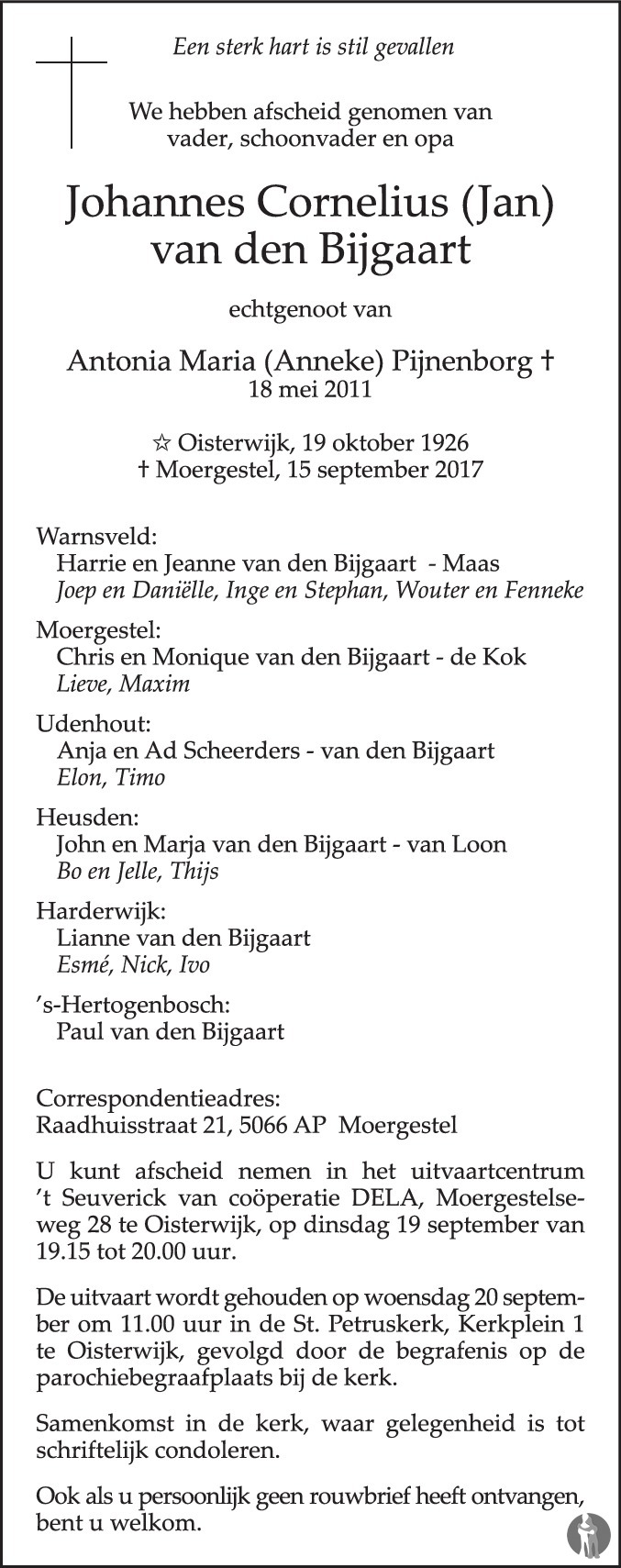 Overlijdensbericht van Johannes Cornelius (Jan) van den Bijgaart in Brabants Dagblad