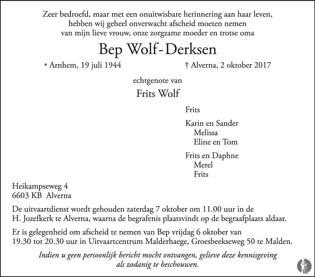 Frits Wolf Beuningen.Bep Wolf Derksen 02 10 2017 Overlijdensbericht En