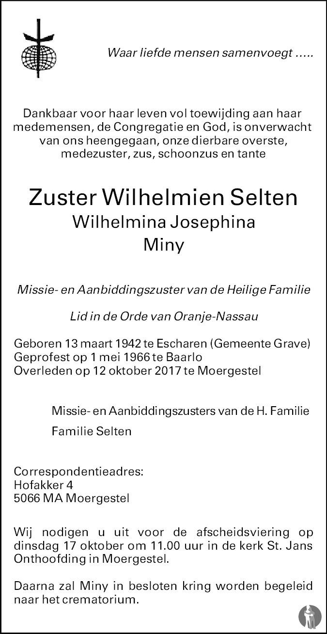 Overlijdensbericht van Wilhelmina Josephina Miny (Zuster Wilhelmien) Selten in Brabants Dagblad