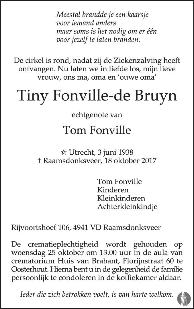 De Bruyn Koeriers.Tiny Fonville De Bruyn 18 10 2017 Overlijdensbericht En