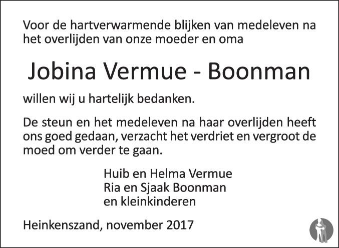 Overlijdensbericht van Jobina Vermue - Boonman in PZC Provinciale Zeeuwse Courant