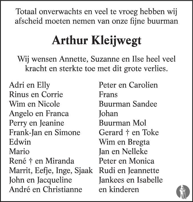 Overlijdensbericht van Arthur Richard Wilfred Kleijwegt in PZC Provinciale Zeeuwse Courant
