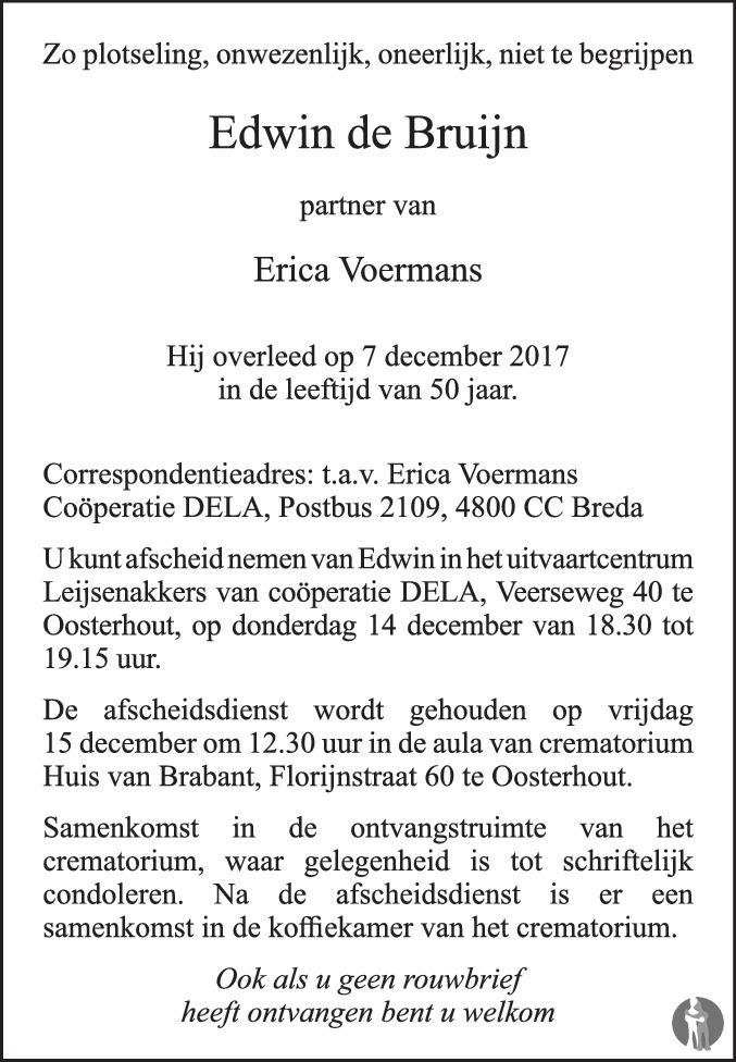De Bruyn Koeriers.Edwin De Bruijn 07 12 2017 Overlijdensbericht En Condoleances