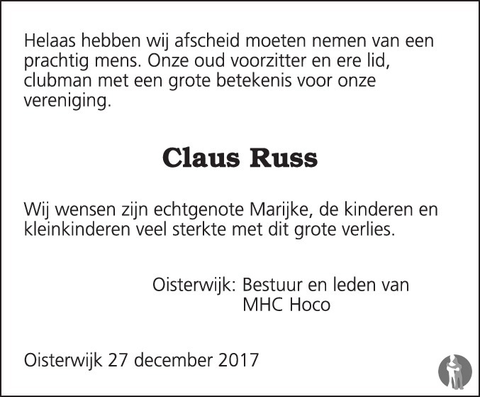 Overlijdensbericht van Claus Günther (Claus) Russ in Brabants Dagblad